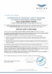 COI EURO IMPEX TRANS 2019